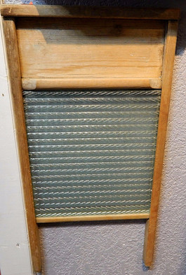 Vintage Wood & Glass Washboard