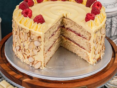 Raspberry Almond White Chocolate Cake