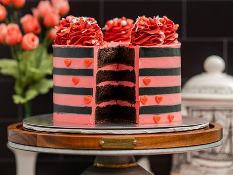 Valentines Day Striped Cake