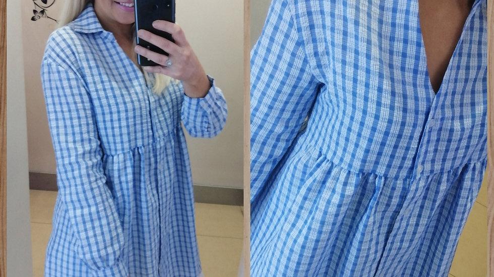 Check Print smock tunic