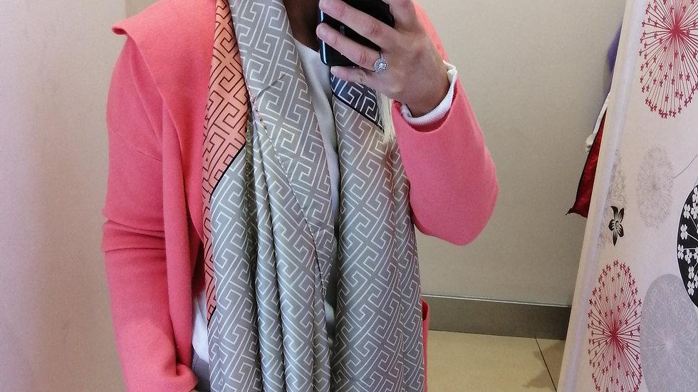Designer style coral beige mix scarf