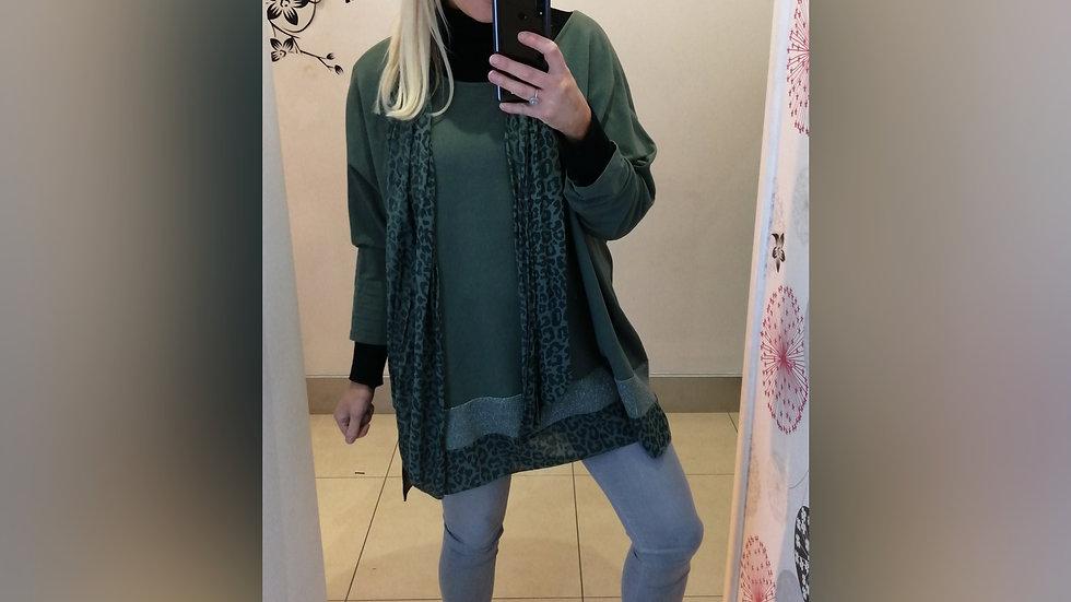 Kaki Green tunic & leopard print scarf
