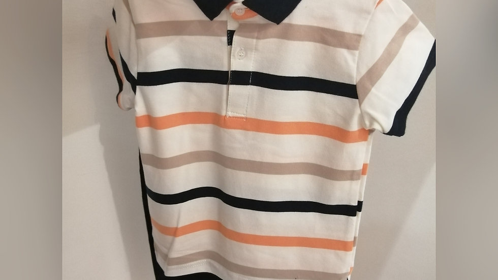 Striped Tee and navy chinos