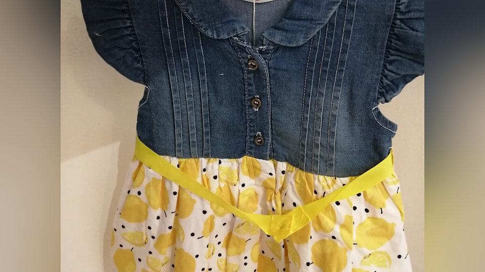 Denim lemon mix dress