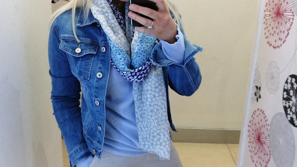 Blue floral mix scarf