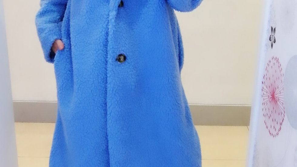 Blue lined Teddy coat