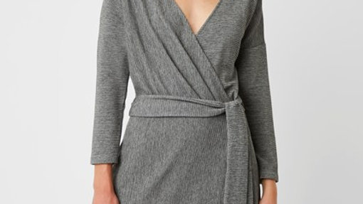 Grey Wrap effect dress
