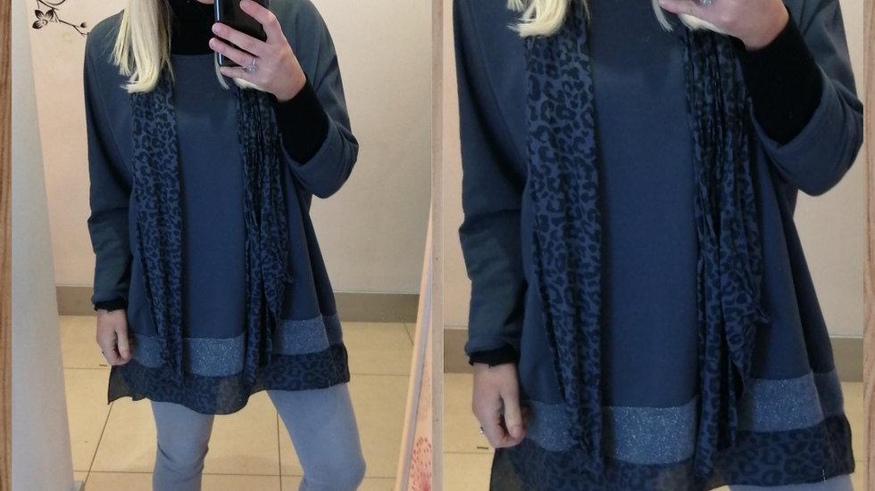 Smoky grey tunic & leopard print scarf