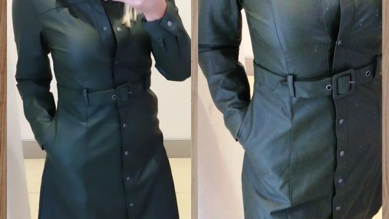Kaki pleather dress