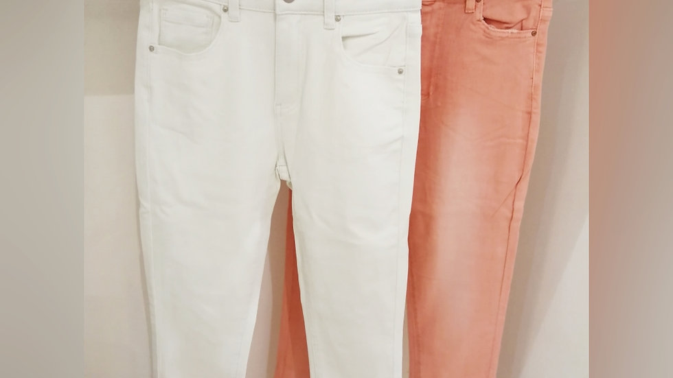 Toxiq Jeans  Coral and off white