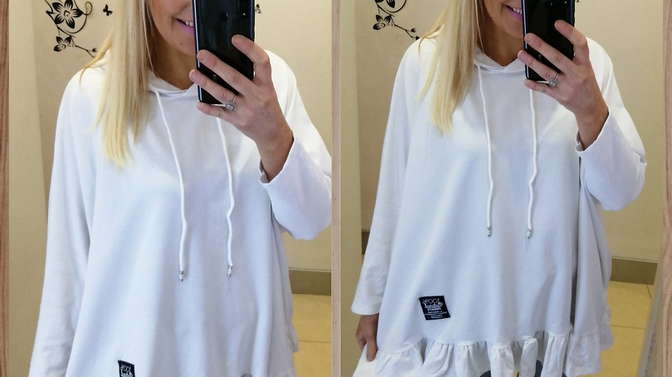 White oversized frill Hoodie