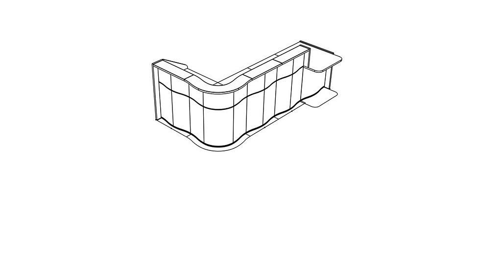 "WAVE Reception Desk LUV451L - 122 4/8"""