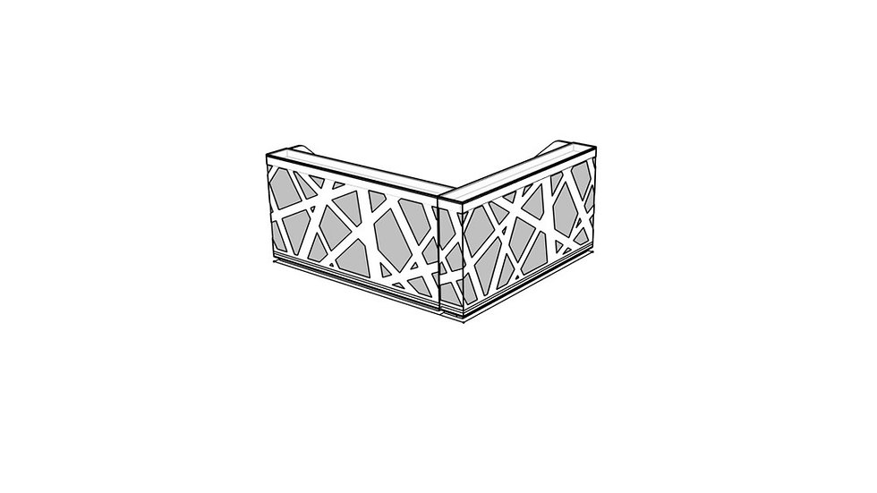 "ZIG ZAG Reception Desk LZG45 - 97 5/8"" with Side Panels"
