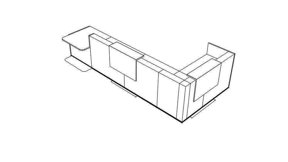 "TERA Reception Desk TRA45L - Low/High 183 2/8"" Length"