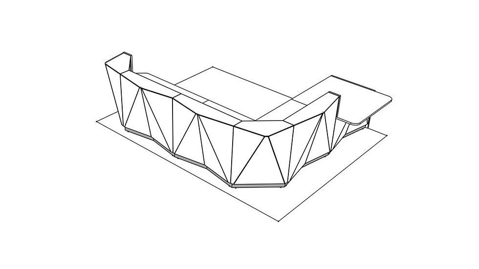 "ALPA Reception Desk ALP24L -  156 1/8"""