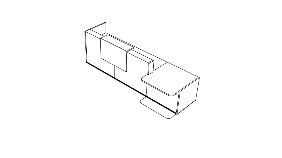 "TERA Reception Desk TRA40P - Low/High 136"" Length"