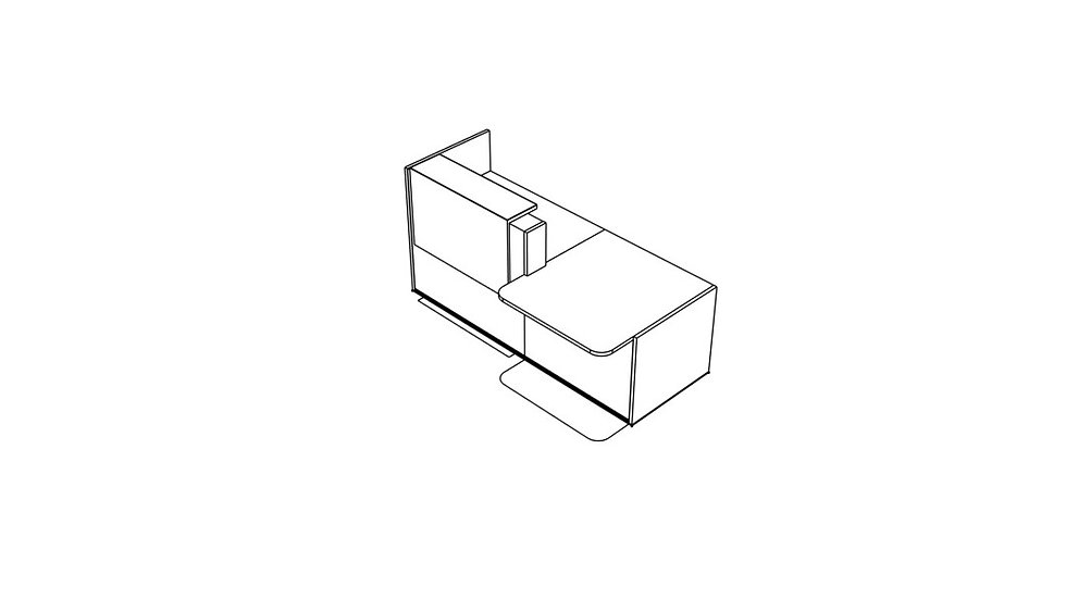 "TERA Reception Desk TRA37P - Low/High 88 7/8"" Length"