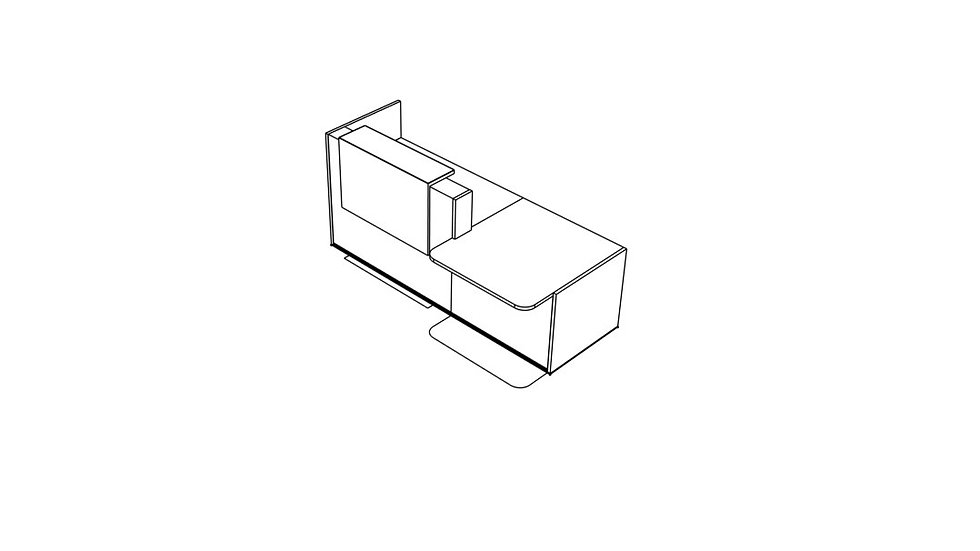 "TERA Reception Desk TRA38P - Low/High 96 6/8"""