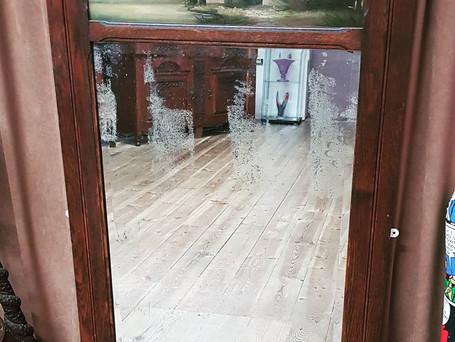 Antique Oak Trumeau Mirror