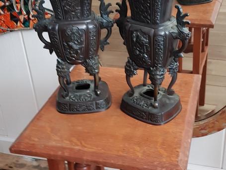 Meiji Bronze Vases