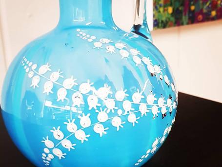 Victorian Blue Glass and Enamel Jug