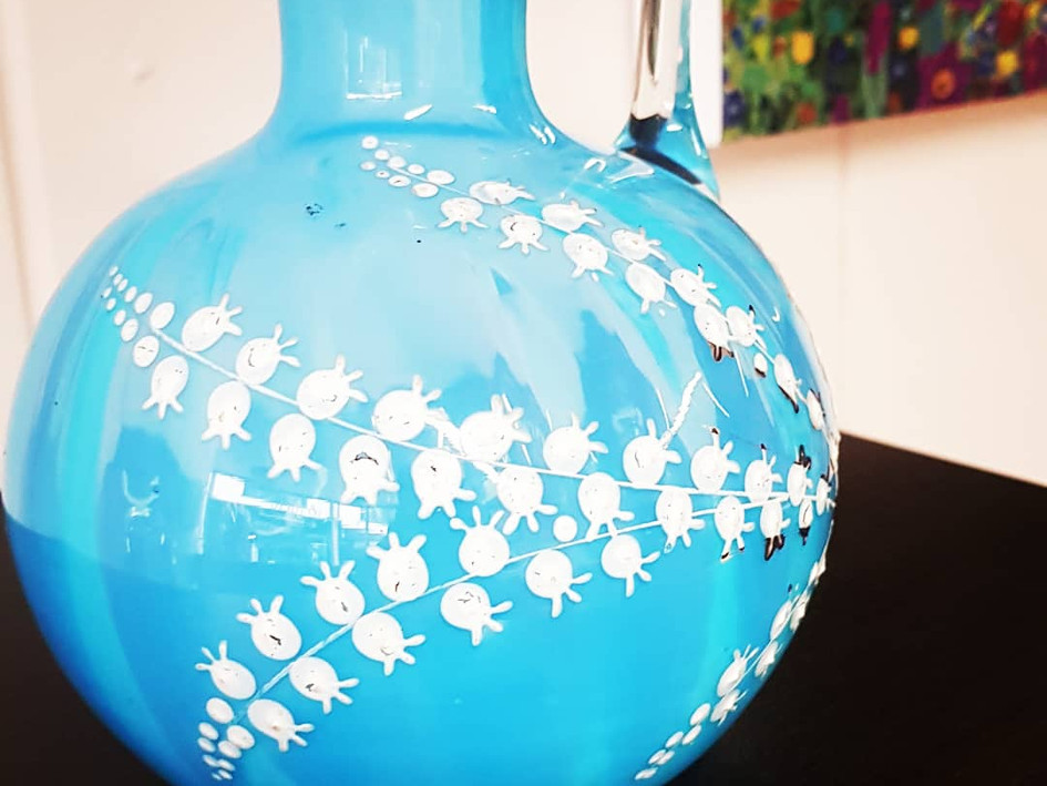 Victorian Blue Glass and Enamel Jug