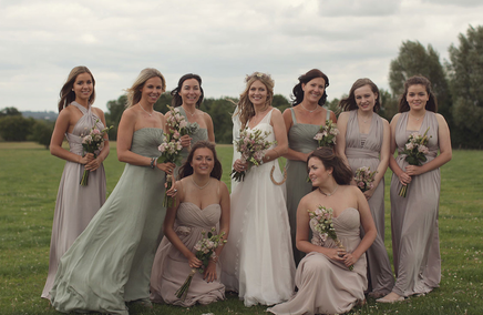 Bride and maids for tipi wedding