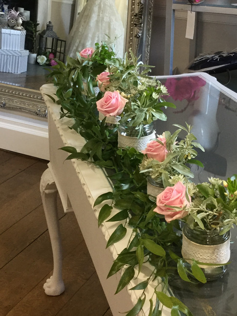 Rose jam jars for country wedding
