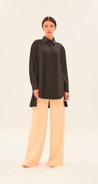 Maxi Camicia in Cottone con Plissé