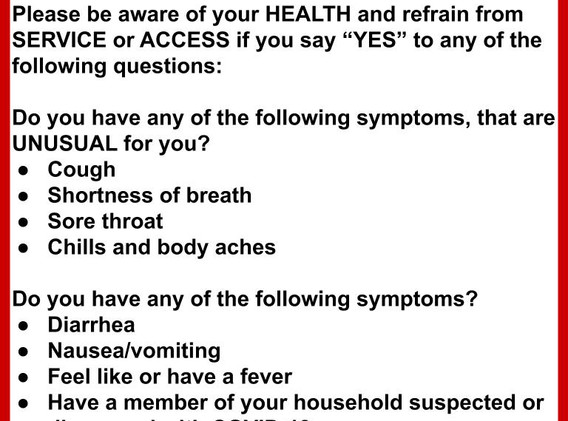 COVID Self-screening Guidelines Sign