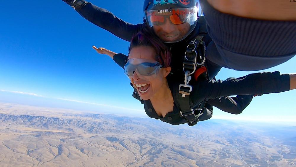 first time tandem skydiver above Skydive Hollister