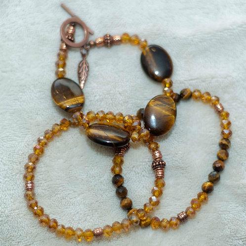 Divine Abundance Tigers Eye,Crystal, and Copper Bracelet Set