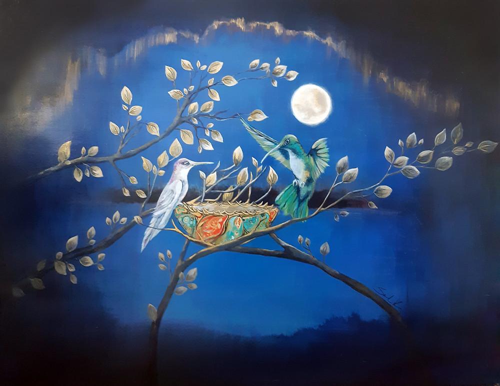 Hummingbird spirit painting by Sandra Kunz