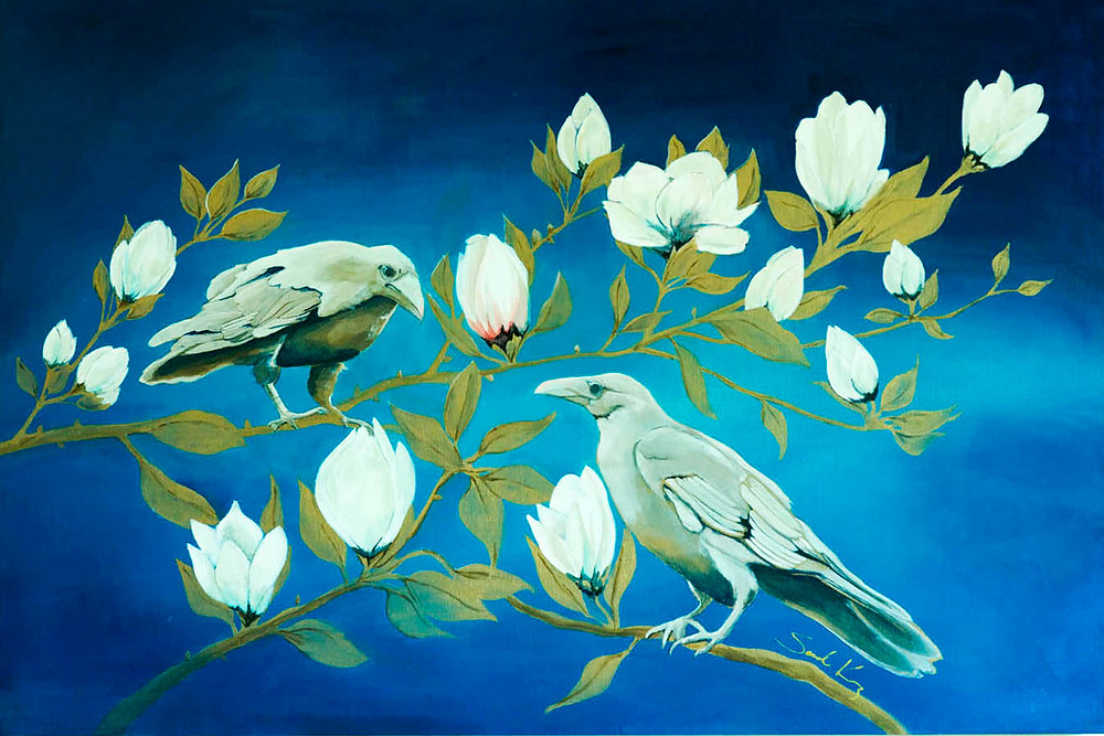 white Raven and Magnolia Painting by Sandra Kunz