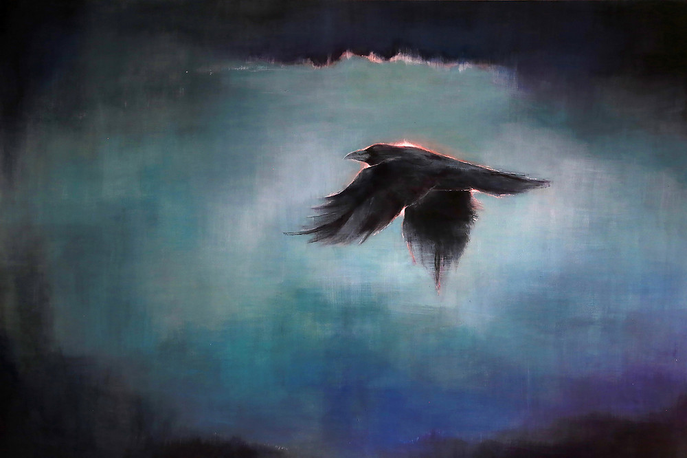 Raven painting by Sandra Kunz