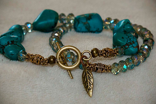 Divine Tranquility Genuine Turquoise and Crystal Bracelet Set