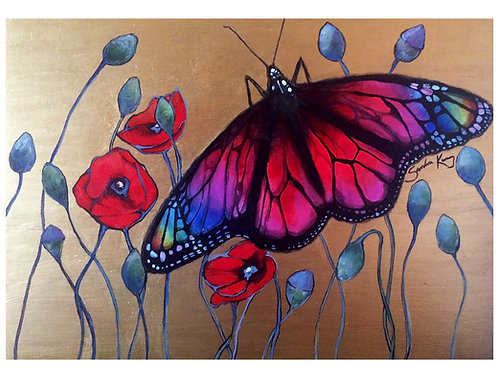 3 art cards 'Rainbow Butterfly'  by Sandra Kunz