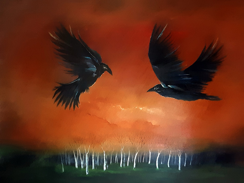 Raven Painting Rebirth by Sandra Kunz