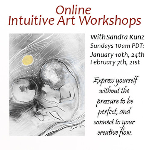 Online Intuitive Art Workshops for January, February 2021