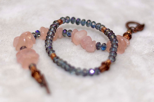 Divine Love Rose Quartz and Crystal Bracelet Set