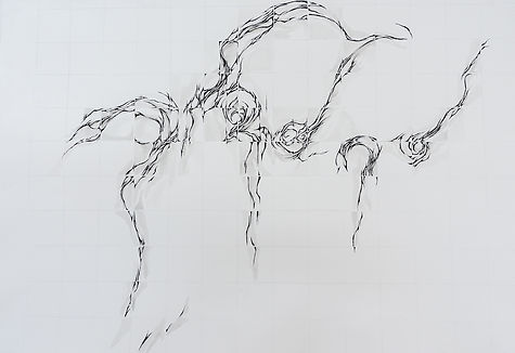 grid movement 6 sumi ink on paper 75 x 5