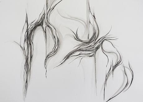 Bimanual suturing 1 sumi ink on paper 75