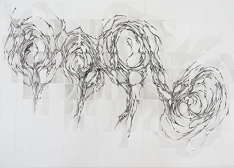 grid movement 5 sumi ink on paper 75 x 5