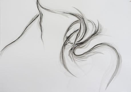 Bimanual suturing 2 sumi ink on paper 75