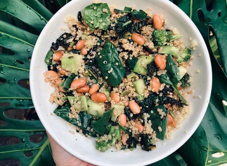 Quick Quinoa, Pinto Bean and Kale Salad
