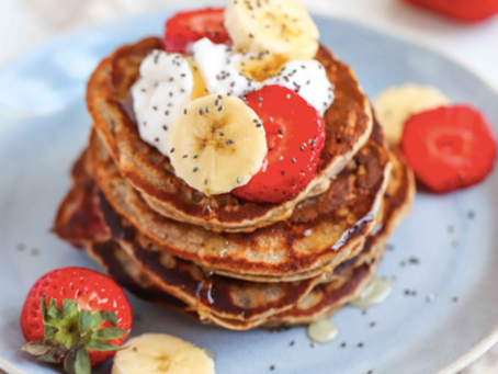 Healthy Strawberry & Banana Vegan Pancakes