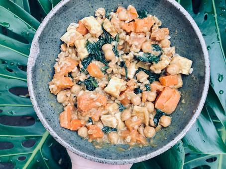 Satay Sweet Potato, Chickpea and Tofu Curry
