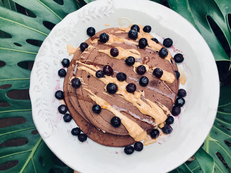 Easy Vegan Buckwheat Pancakes with subtle choc-maple flavours