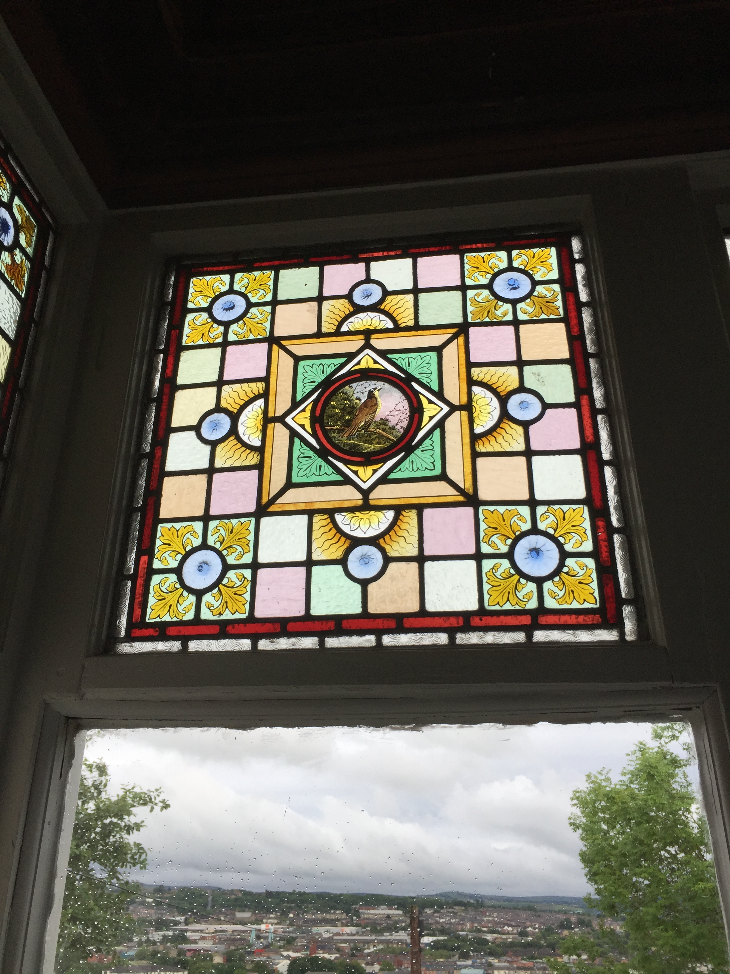 Stained glass on window from 1890's