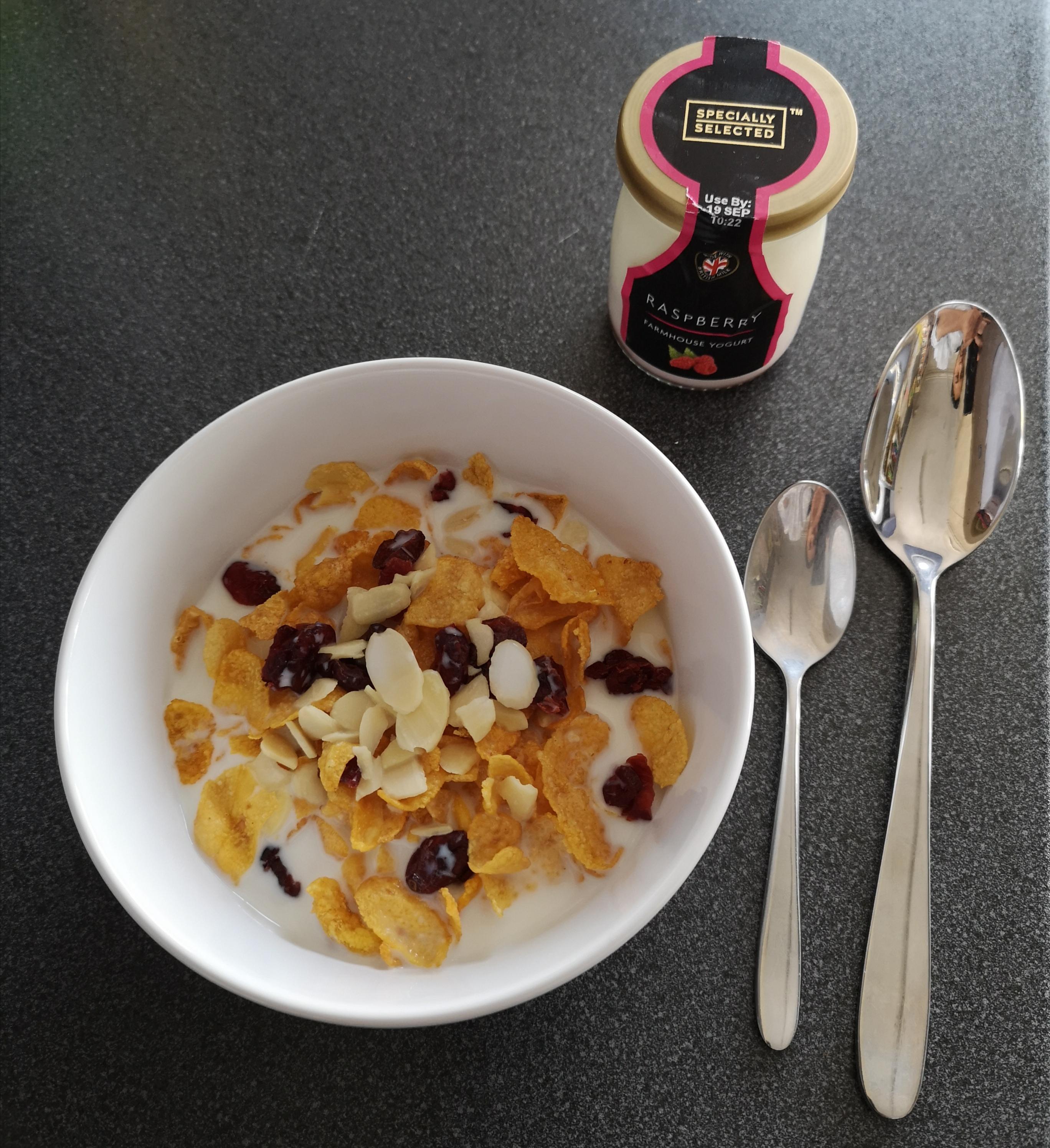 Light cereal option with yogurt
